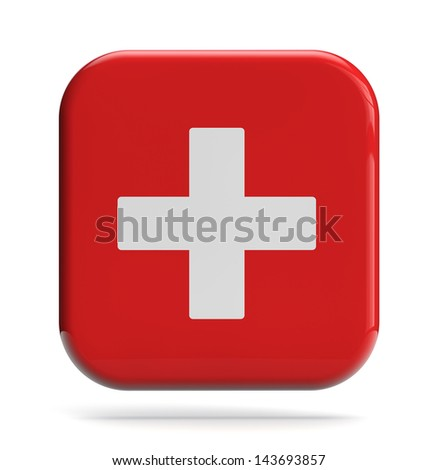 Medical cross icon isolated on white.
