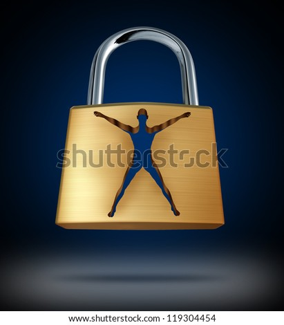 Medical cure and human health care discovery with a metal lock and an open key hole in the shape of a body as a breakthrough and success in medicine. - stock photo
