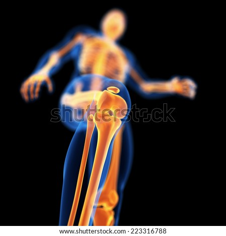 medical 3d illustration of skeletal knee - stock photo