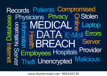 Medical Data Breach word cloud on blue background - stock photo