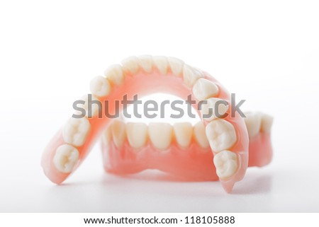 medical denture smile jaws teeth on white background - stock photo