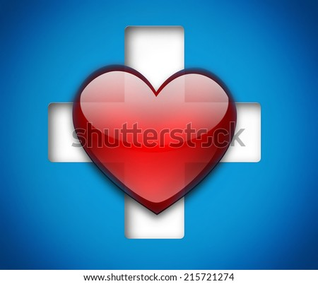 Medical design with heart and cross - stock photo