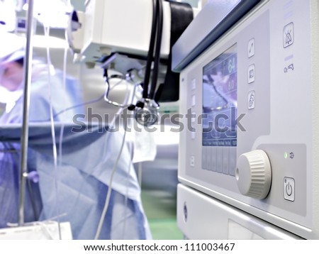 medical device in the operating room. Anesthetic machine during surgery.