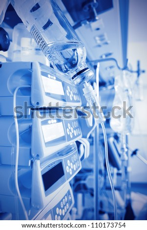 medical devices, drip infusion sets, and other equipment in operation. Medical background. monochrome photos. - stock photo