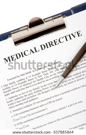 Medical Directive document in a clipboard isolated