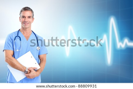 Medical doctor cardiologist. Over blue background. Health care. - stock photo