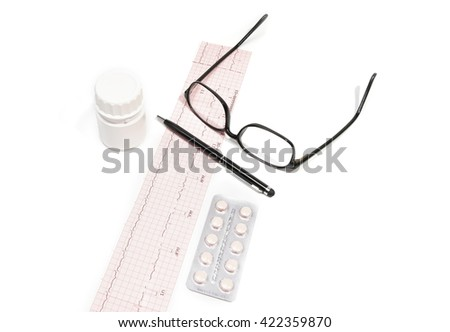 Medical doctor.Electrocardiogram Result ,medicine,bottle ,glasses,pen,isolated on the white background. - stock photo