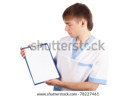 Medical doctor holding clipboard isolated on white background