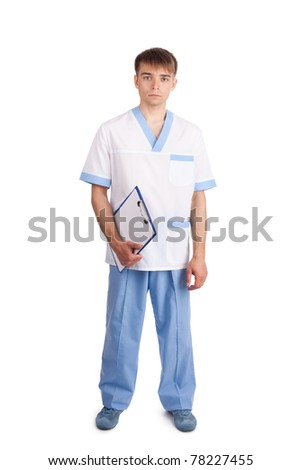 Medical doctor isolated holding clipboard on white background. Full length portrait