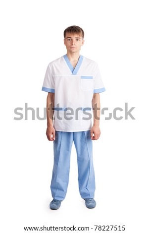 Medical doctor isolated on white background. Full length portrait