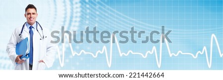 Medical doctor man over blue background. Health care. - stock photo
