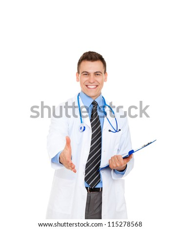 medical doctor man smile handshake, hold hand welcome gesture with stethoscope. Happy toothy smiling Isolated over white background