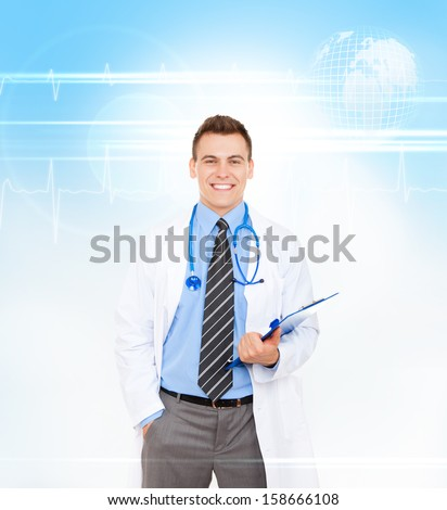 medical doctor man smile with stethoscope hold folder. Happy toothy smiling wear white lab coat over abstract blue medic health care background - stock photo