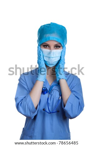 Medical doctor nurse in blue gloves and mask with stethoscope holding her hands on head. Isolated over white background. Concept of headache, pain, sadness, medical mistake. - stock photo