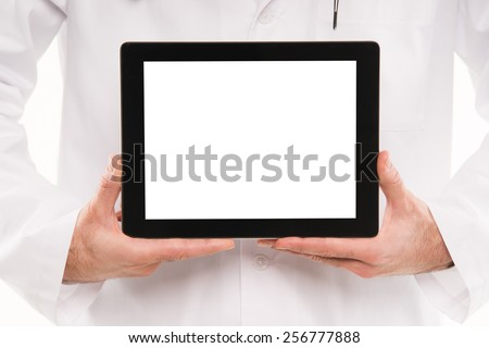Medical doctor showing blank digital tablet pc. - stock photo