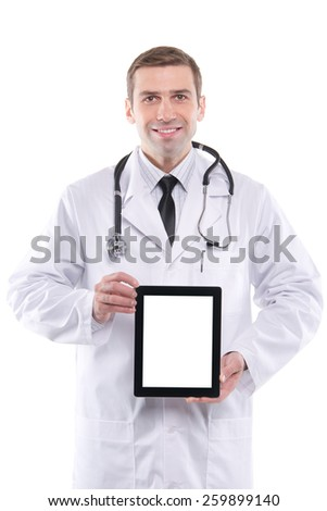Medical doctor showing digital tablet pc with blank screen. - stock photo