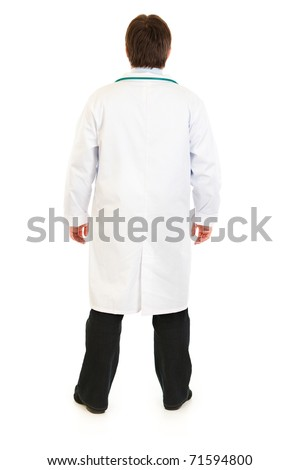 Medical doctor standing  back to camera isolated on white - stock photo