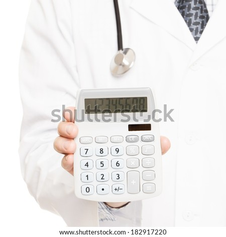 Medical doctor with a calculator in his right hand showing calculated costs and revenues in physician practice and hospital fees - 1 to 1 ratio image - stock photo