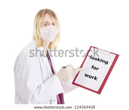 Medical doctor with clipboard: looking for work - stock photo