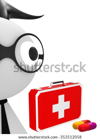 Medical doctor with first aid - stock photo
