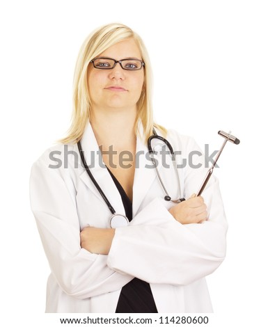Medical doctor with reflex hammer - stock photo