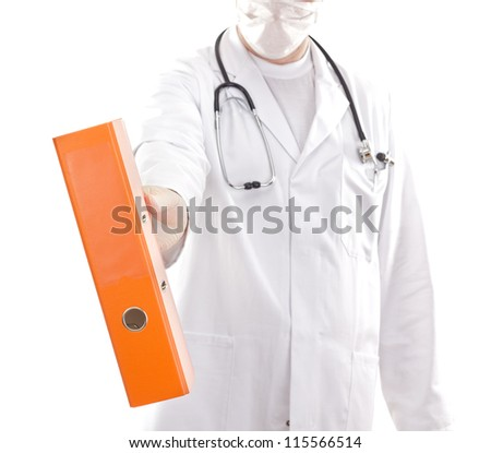 Medical doctor with some documents - stock photo