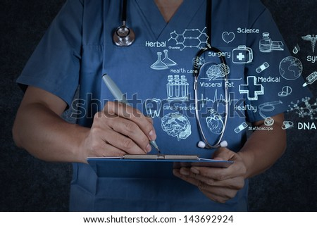 medical doctor with stethoscope writing on texture background - stock photo