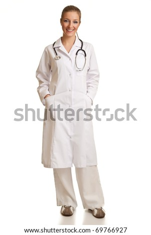 Medical doctor woman in uniform with stethoscope isolated on white
