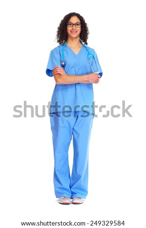 Medical doctor woman isolated white background. Health care. - stock photo