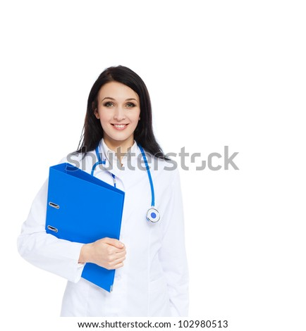 medical doctor woman smile with stethoscope and blue folder. Isolated over white background