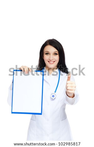medical doctor woman smile with stethoscope clipboard show thump up finger, concept of advertisement product, empty copy space. Isolated over white background