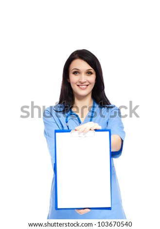 medical doctor woman smile with stethoscope clipboard with empty copy space, concept of advertisement product. nurse wear blue surgery suit. Isolated over white background - stock photo