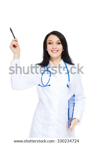 medical doctor woman smile with stethoscope point finger with pen up to corner, concept of advertisement product, empty copy space. Isolated over white background
