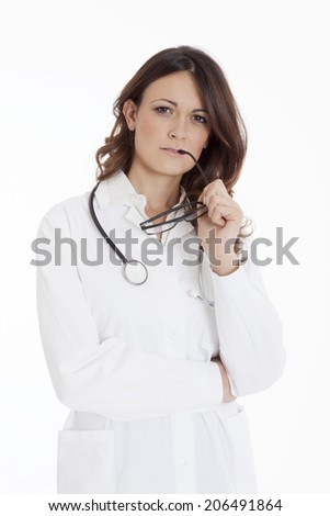 medical doctor woman with stethoscope. white background