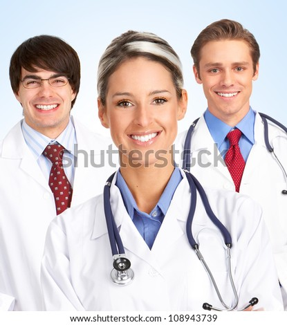 Medical doctors group. Health care background.