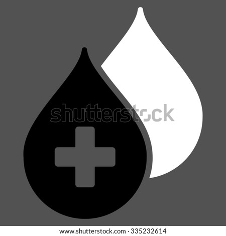 Medical Drops glyph icon. Style is bicolor flat symbol, black and white colors, rounded angles, gray background. - stock photo