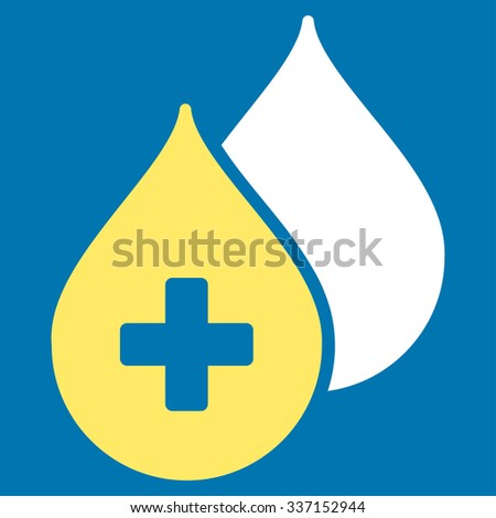 Medical Drops glyph icon. Style is bicolor flat symbol, yellow and white colors, rounded angles, blue background. - stock photo