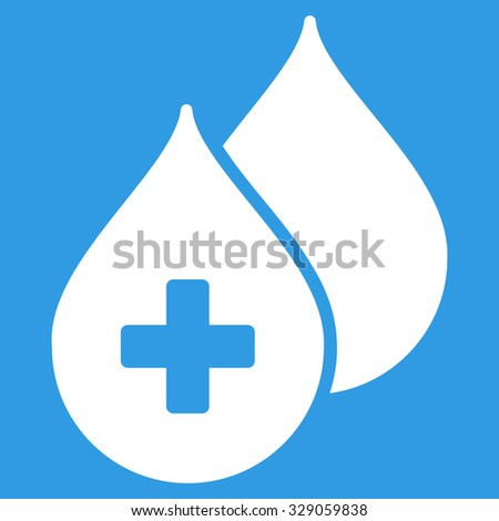 Medical Drops glyph icon. Style is flat symbol, white color, rounded angles, blue background. - stock photo
