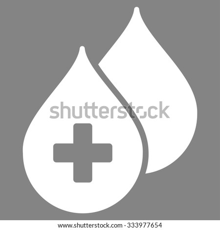 Medical Drops glyph icon. Style is flat symbol, white color, rounded angles, gray background. - stock photo