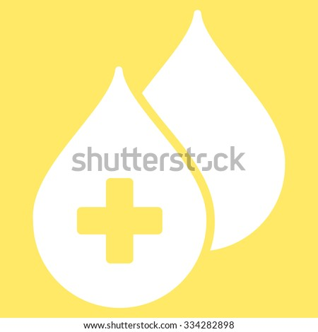 Medical Drops glyph icon. Style is flat symbol, white color, rounded angles, yellow background. - stock photo