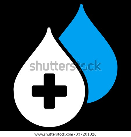 Medical Drops illustration icon. Style is bicolor flat symbol, blue and white colors, rounded angles, black background. - stock photo