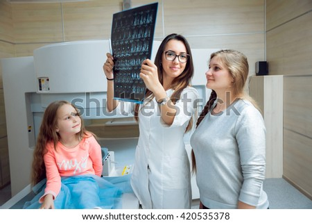 Medical equipment. Doctor and patient in MRI room at hospital. - stock photo