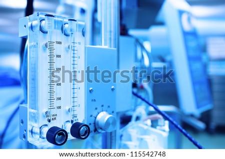 medical equipment. Gas mixer. Stylized photo. - stock photo