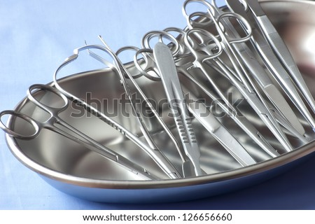 medical equipment  in kidney tray - stock photo