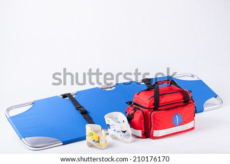 Medical equipment using during administration first aid - stock photo
