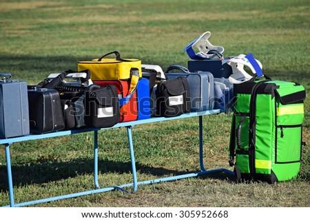 Medical equipments of the ambulance - stock photo