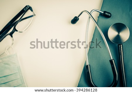 medical examination, medicine and therapy, background, vintage style - stock photo