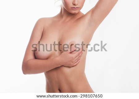 medical examination of the female breast - stock photo