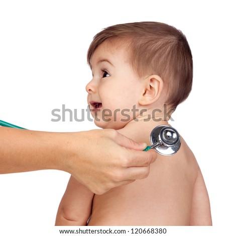 medical examination to a beautiful baby isolated on white background - stock photo