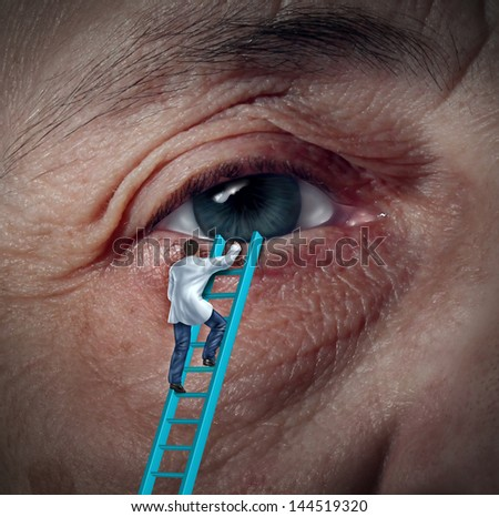 Medical Eye Care concept with an ophthalmologist or optometrist climbing a ladder for a diagnosis on an aging elderly patient that may have vision problems due to cataracts or other ocular diseases. - stock photo